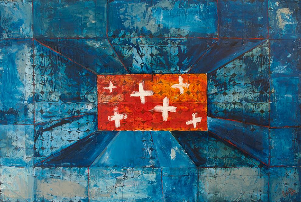 Illegitimi Non Carborundum 100cm x 150cm, Collage and Oil Painting, 2011 © Liesel Beukes