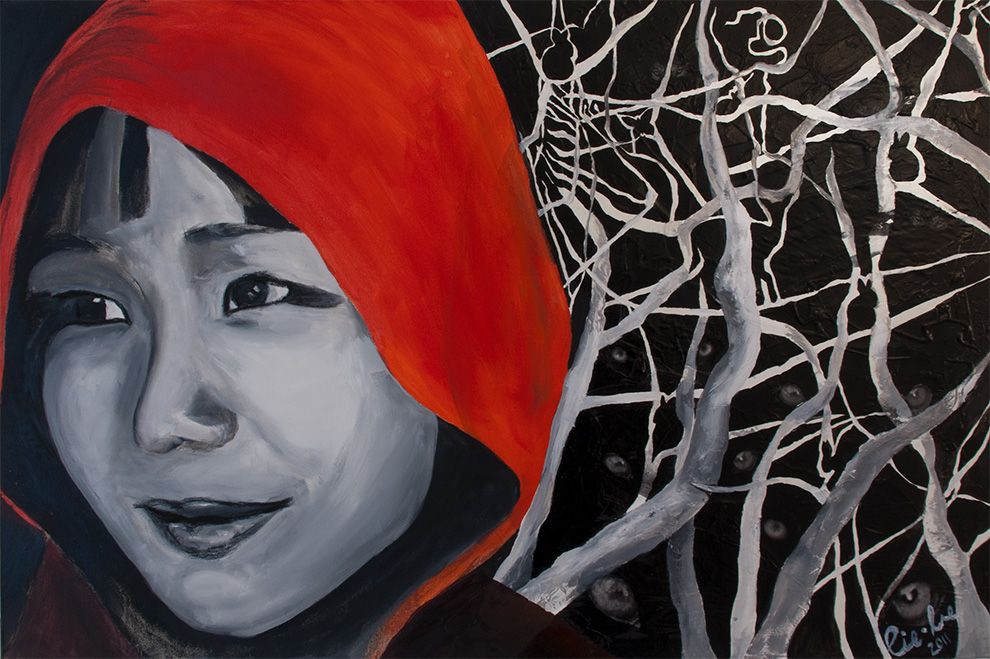 Red! 80cm x 120cm, Collage and Oil Painting, 2011 © Liesel Beukes