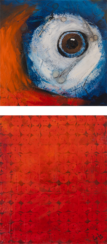Renewal 110cm x 50cm, Collage and Oil Painting, 2011 © Liesel Beukes