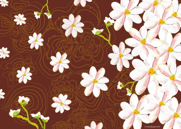 Pattern designed around Bhoomie Daisy for the Bhoomie calendar 2014 to give the calendar a second life i.e. to repurpose the used pages as gift wrap.