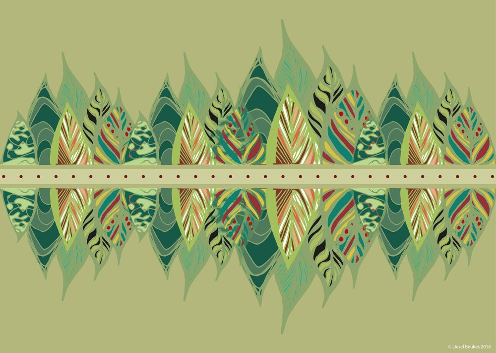 Pattern designed around Bhoomie eartHeart for the Bhoomie calendar 2014 to give the calendar a second life i.e. to repurpose the used pages as gift wrap.