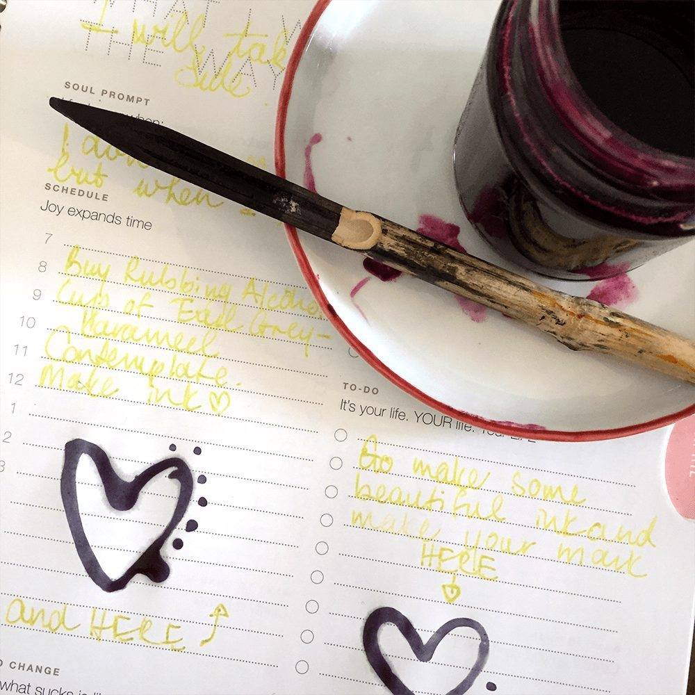 Handmade Blueberry Ink with a Heart of Hyacinths